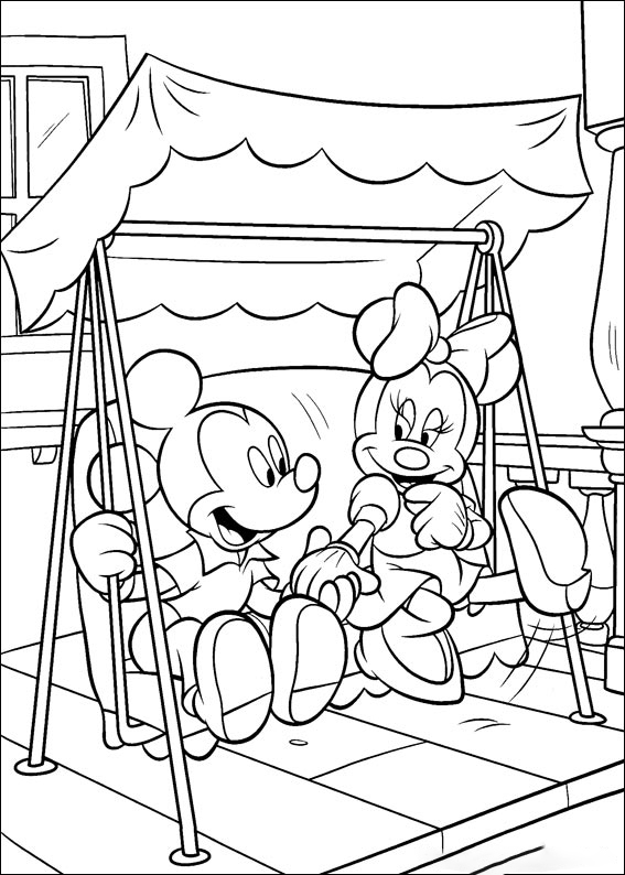 Mickey and Minnie sit swing together Coloring Page