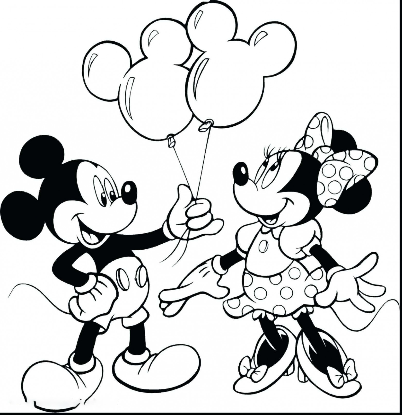 Mickey gives two balloons to Minnie Coloring Page