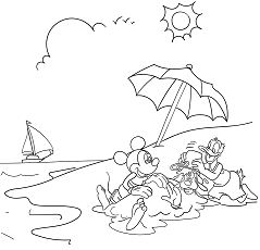 Mickey Mouse And Donald Duck Enjoying Summer Coloring Page