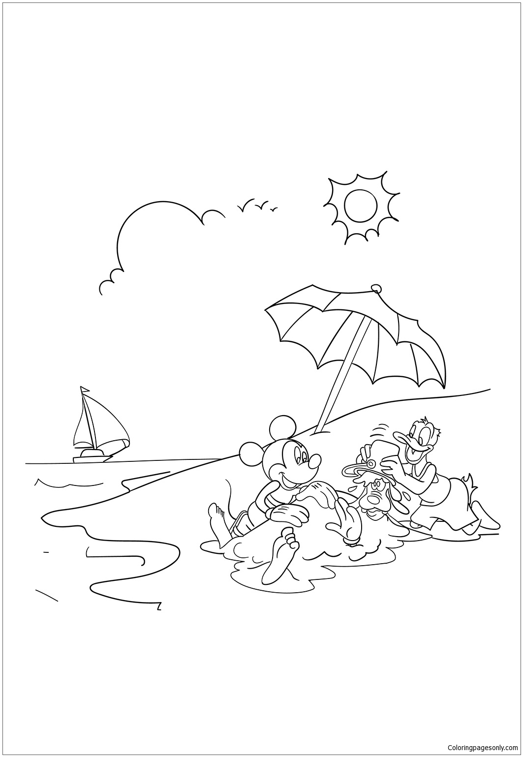 Mickey Mouse And Donald Duck Enjoying Summer Coloring Pages