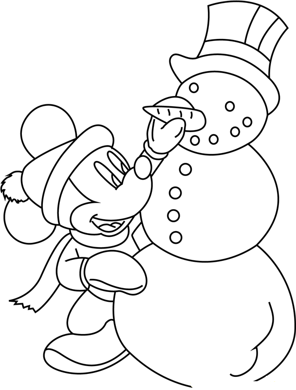 Mickey Mouse Making Snowman