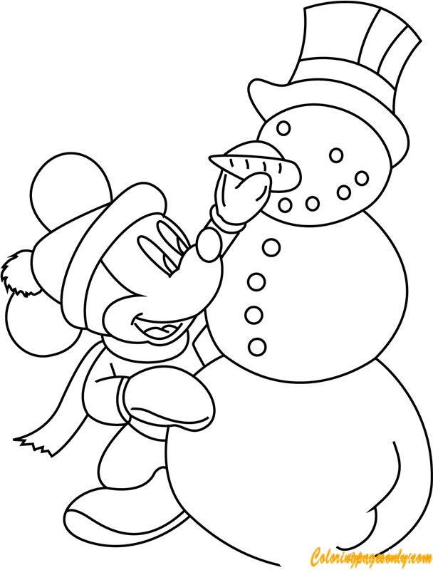 Mickey Mouse Making Snowman Coloring Page