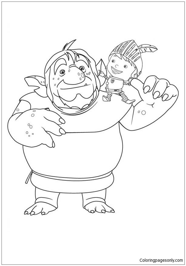 Mike The Knight With Troll Coloring Page