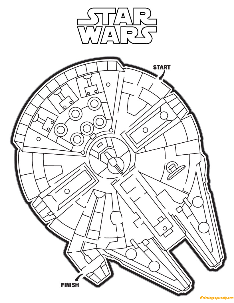 maze coloring pages - the millennium falcon maze coloring page free coloring