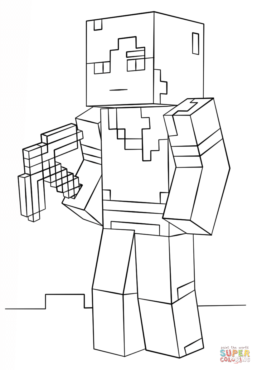 Minecraft Alex From Minecraft Coloring Page Free Coloring Pages Online
