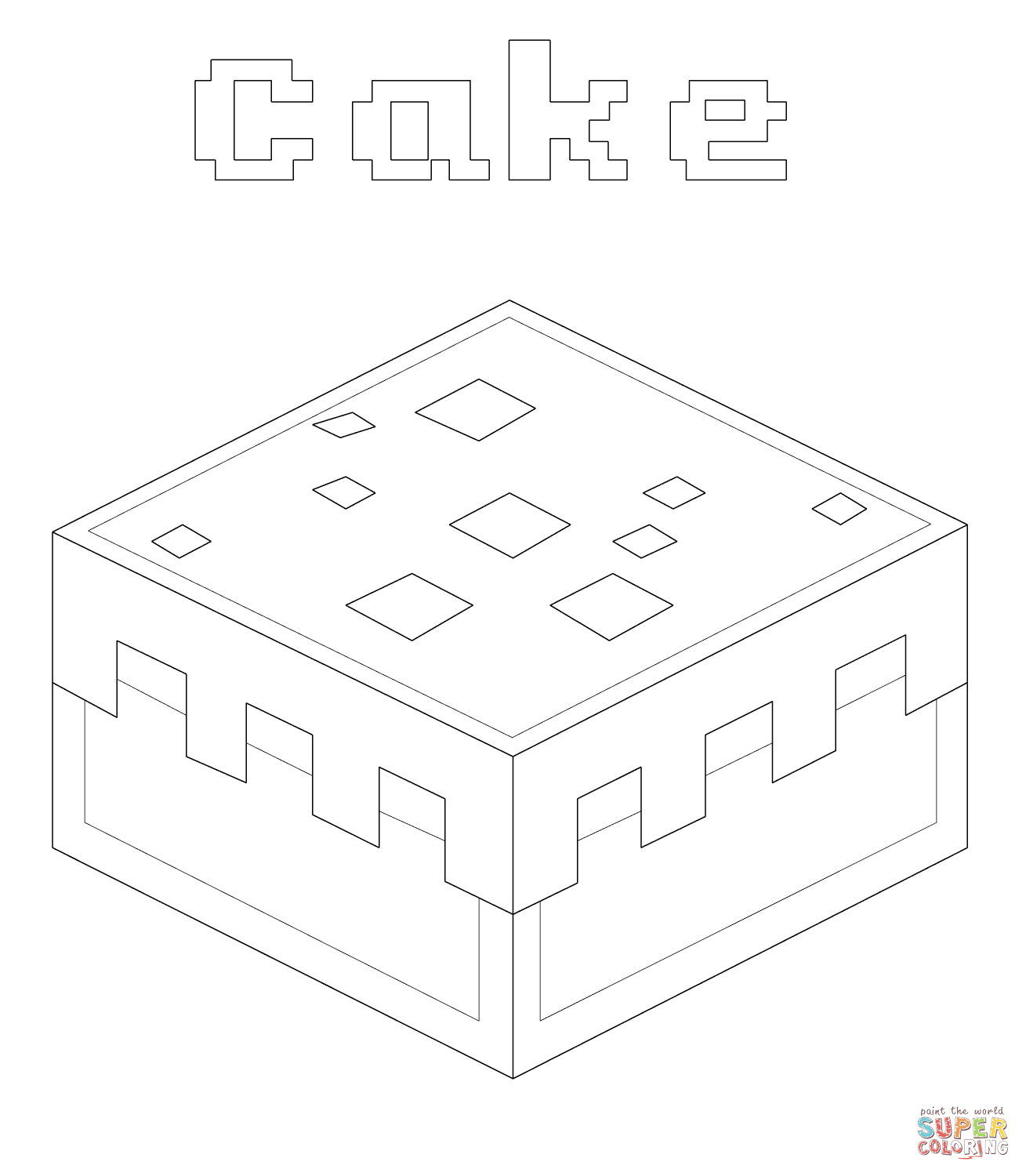 Minecraft Cake From Coloring Page