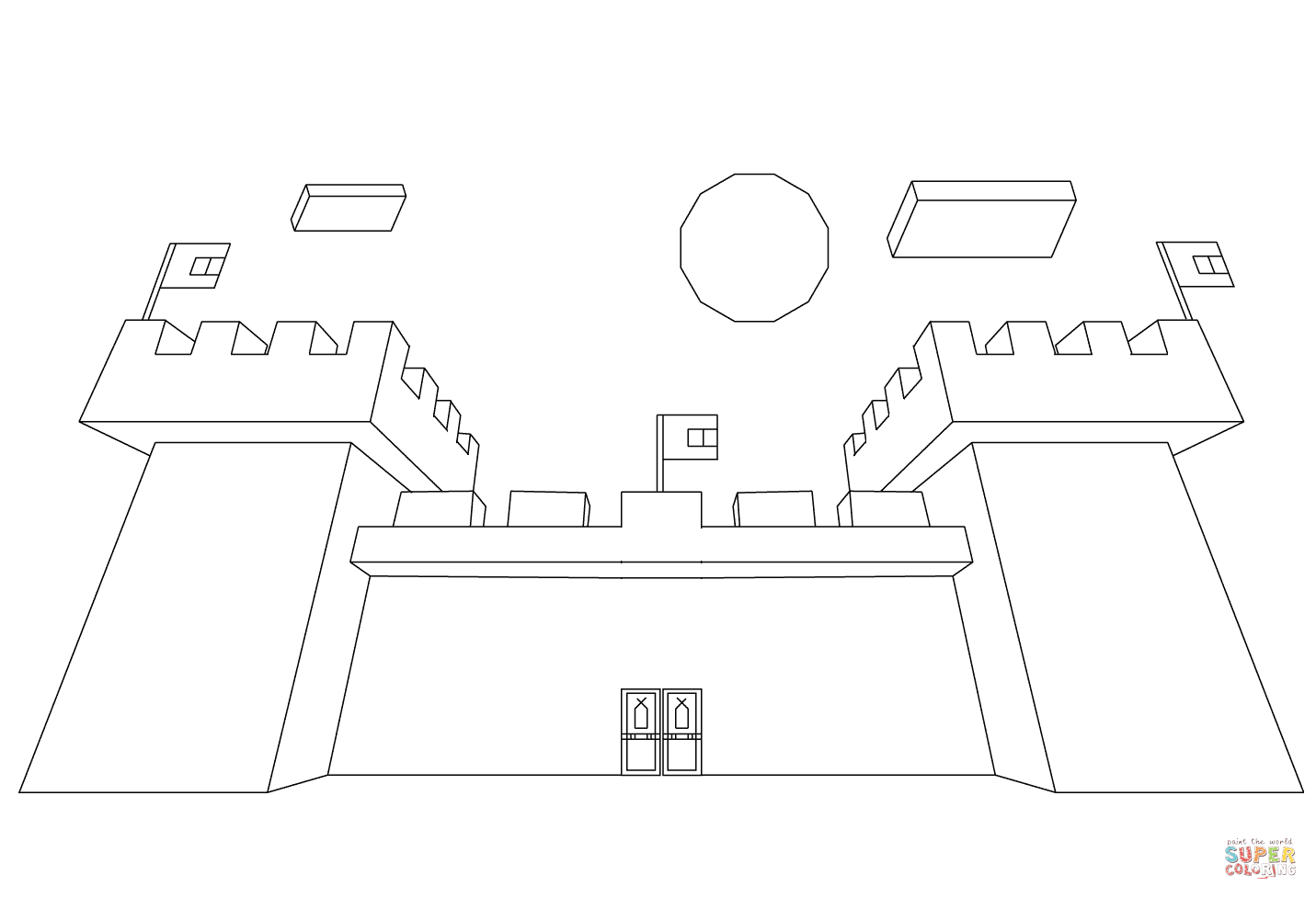 Minecraft Castle From Minecraft Coloring Page