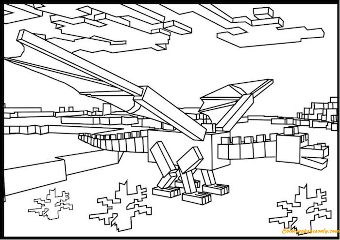 Minecraft Ender Dragon 1 Coloring Page