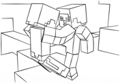 Minecraft Fight Scene from Minecraft Coloring Page