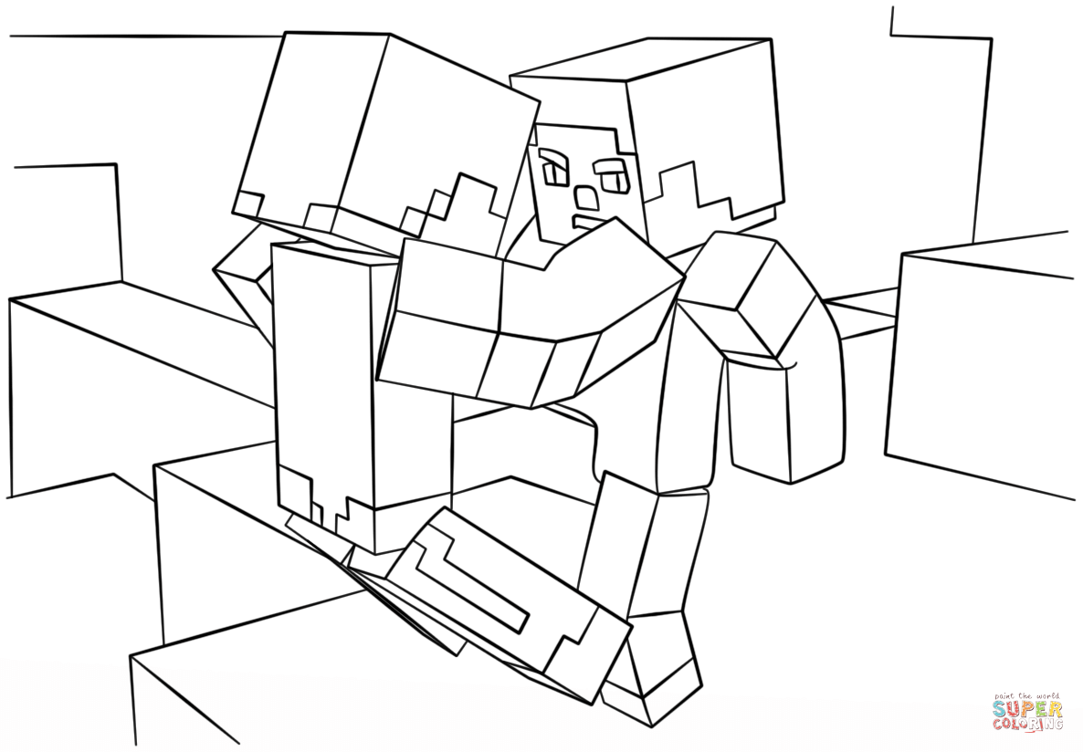 minecraft fight scene from minecraft coloring page free coloring