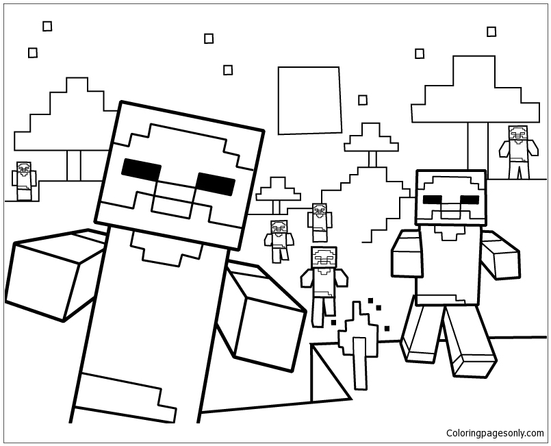 Minecraft For Kids Coloring Page