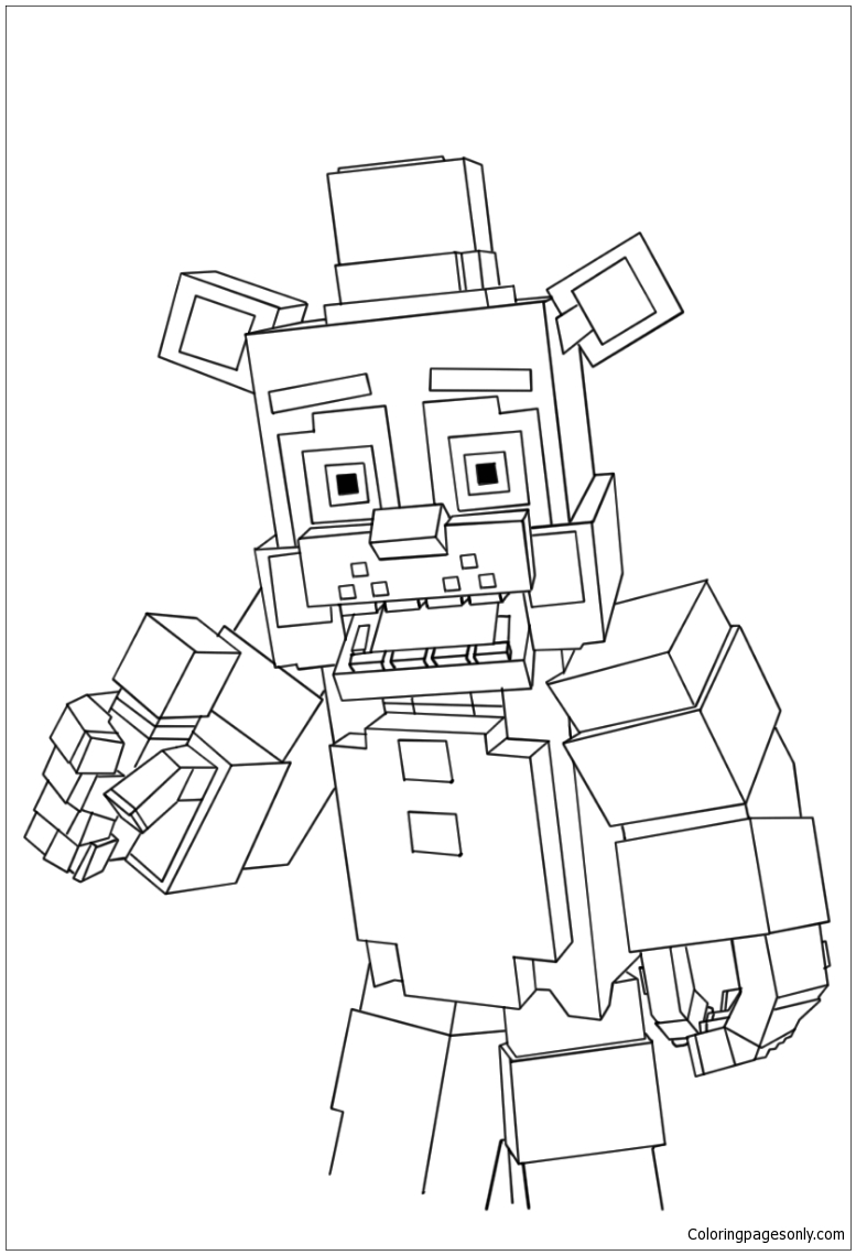 Minecraft Freddy Coloring Page