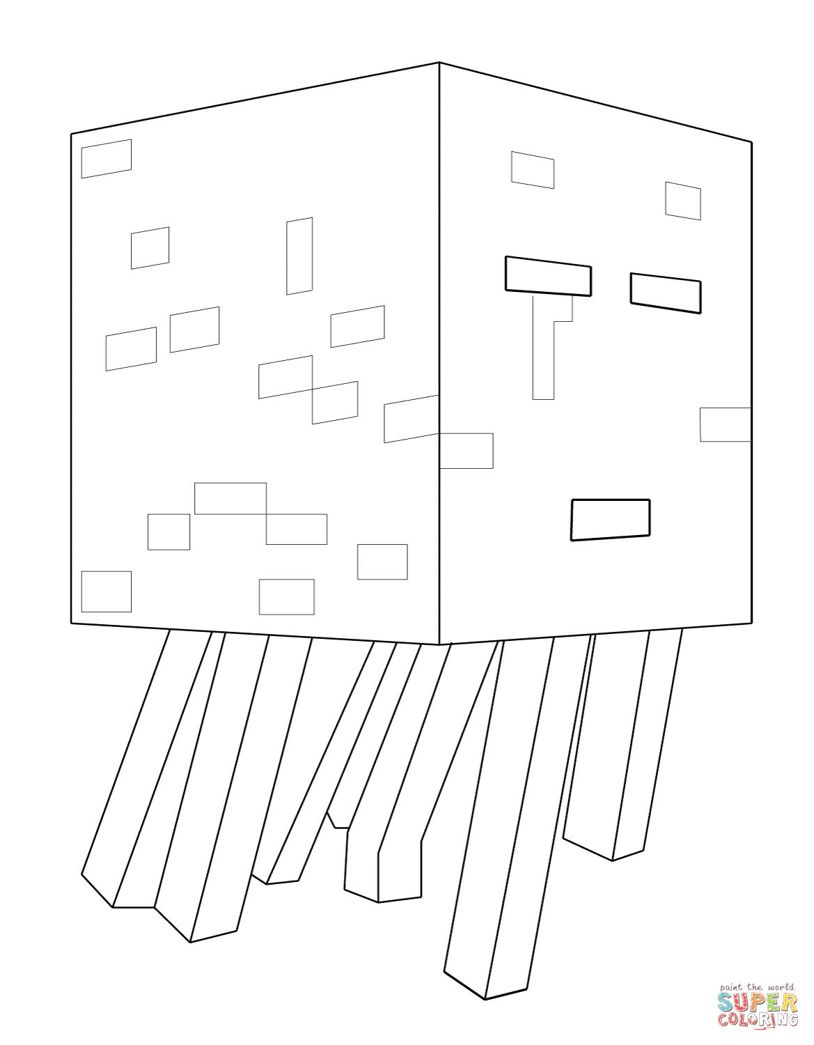 Minecraft Ghast From Minecraft Coloring Page Free