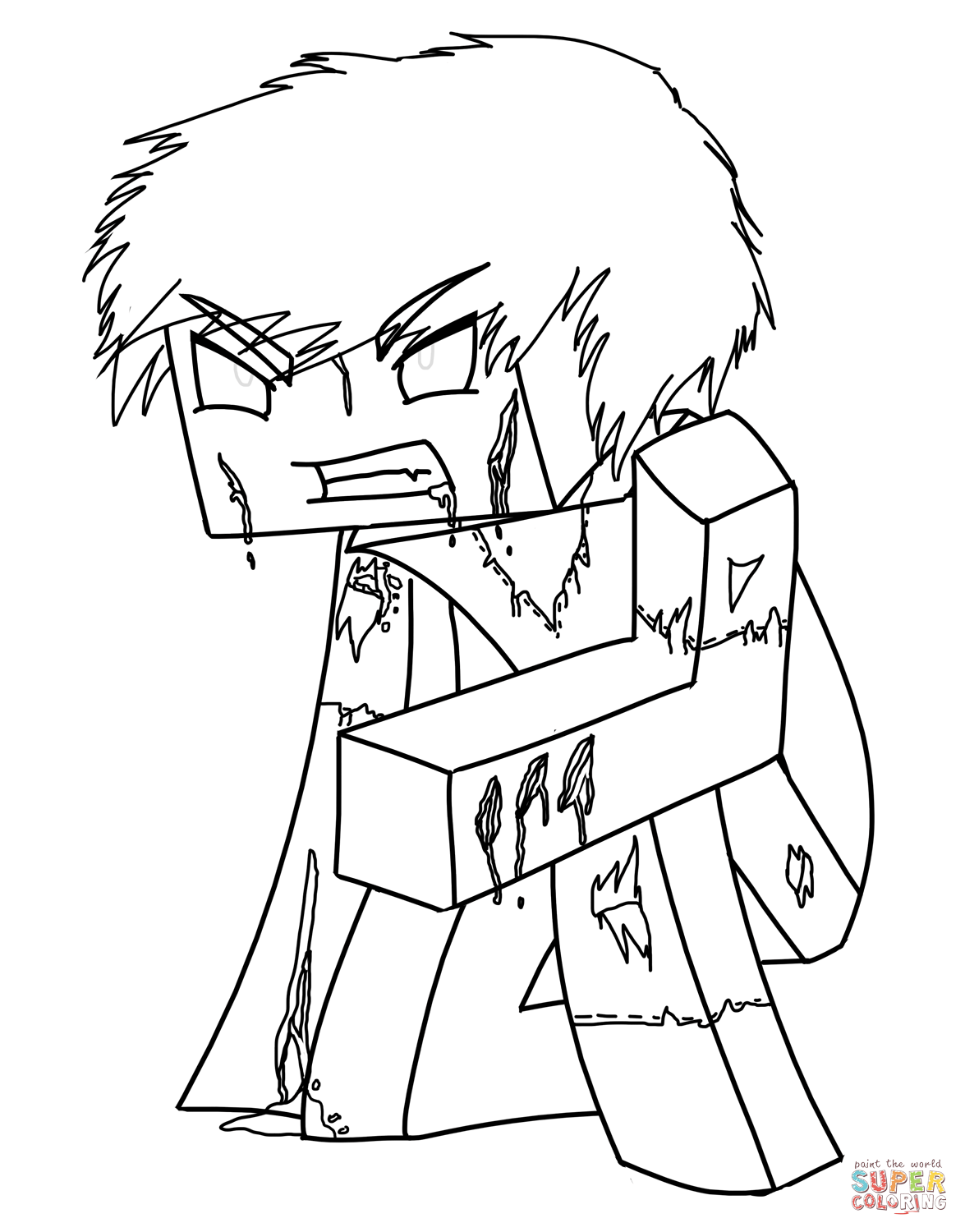 Minecraft Herobrine From Minecraft Coloring Page