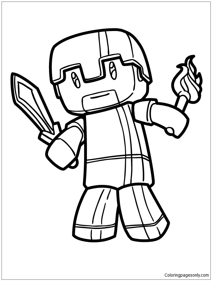 Minecraft Herobrine Coloring Page Free Coloring Pages Online