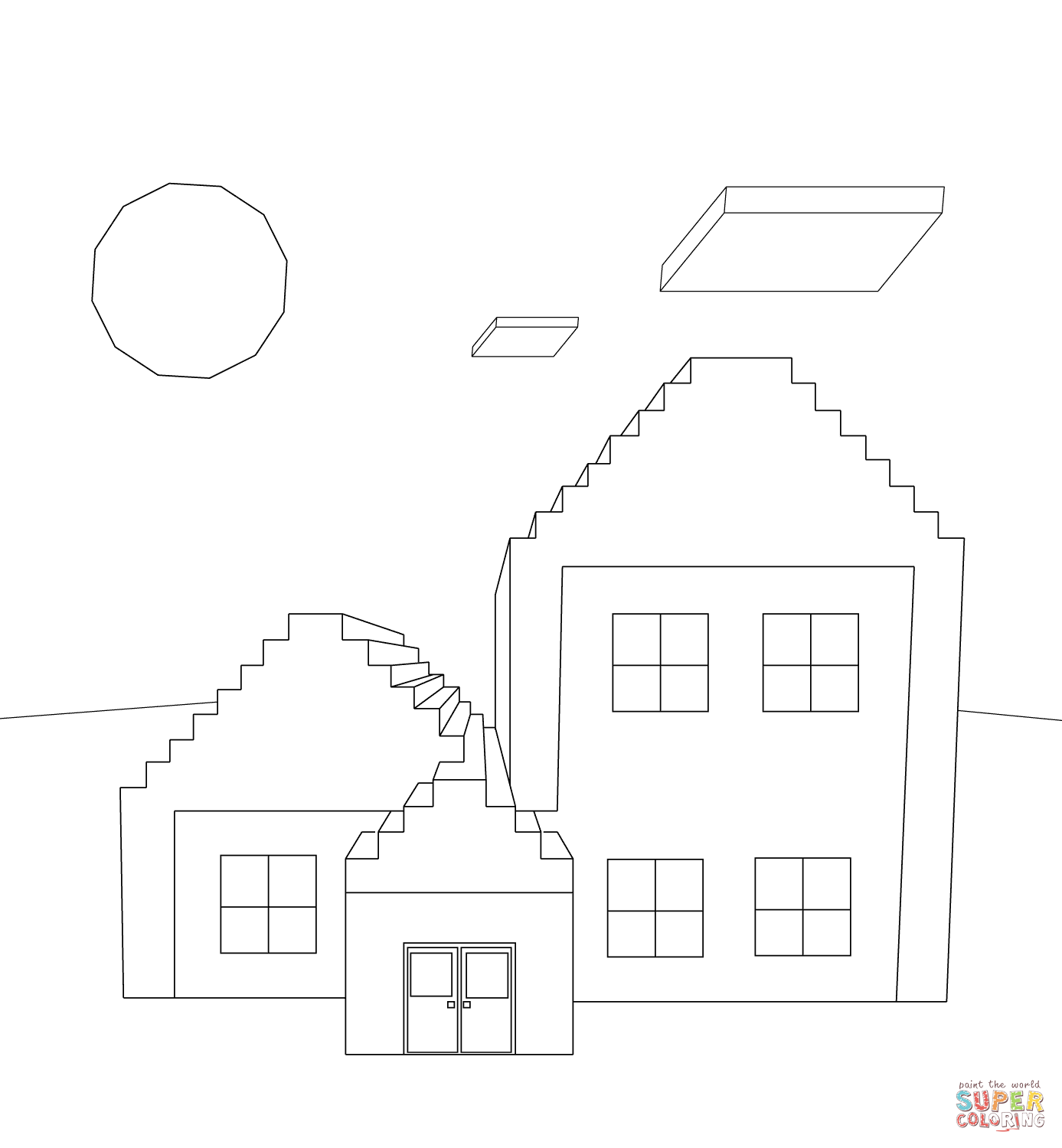 minecraft house from minecraft coloring page free coloring pages