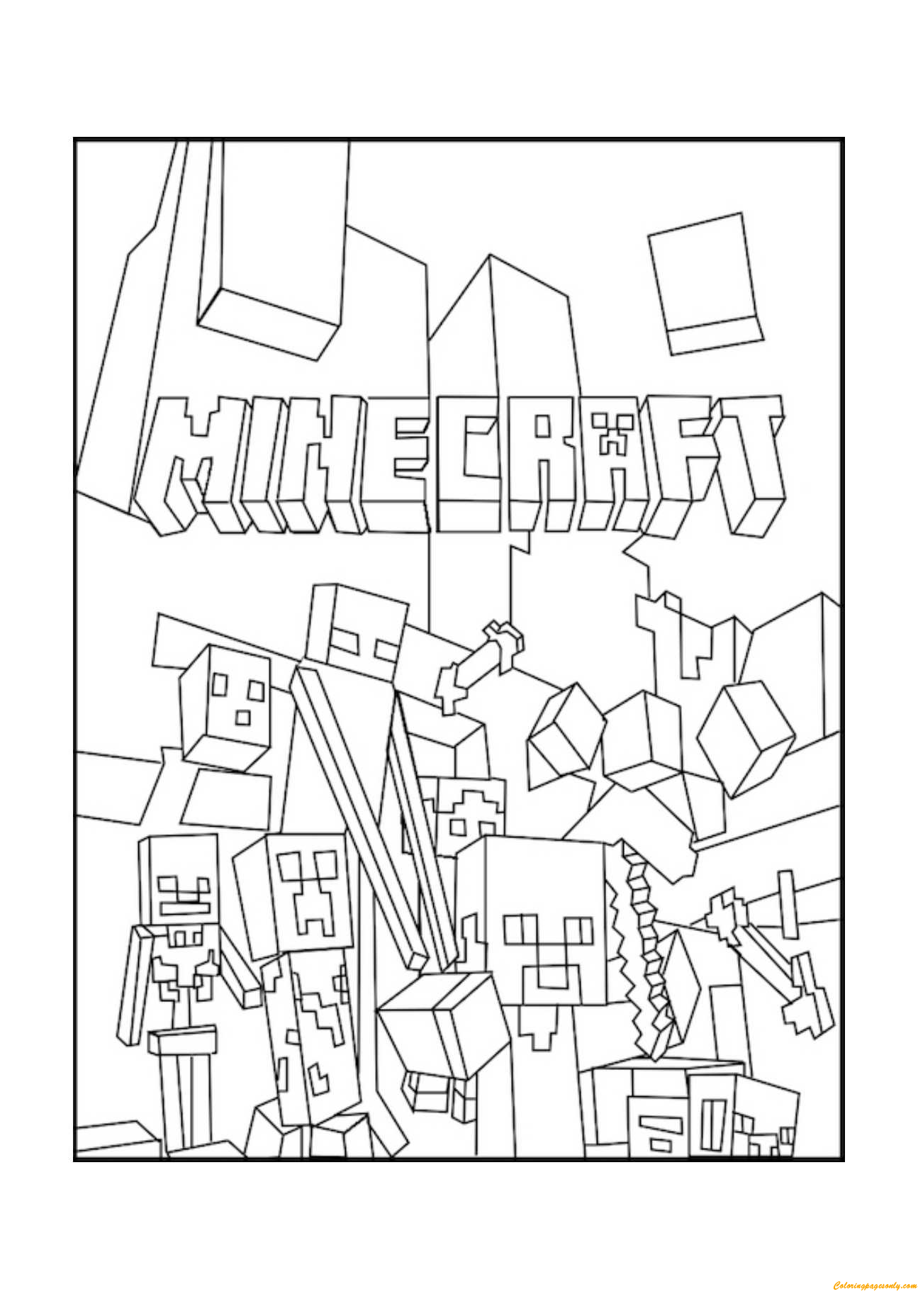 Minecraft Mobs 2 Coloring Page