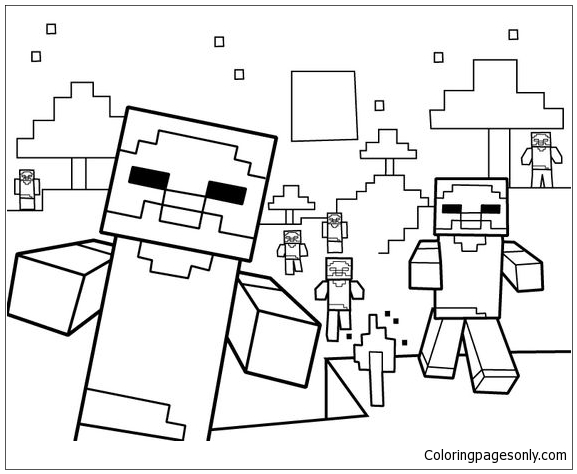 Minecraft Party Coloring Pages - Cartoons Coloring Pages - Free Printable  Coloring Pages Online