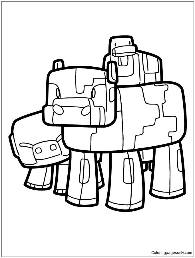 Minecraft Pig Cow And Duck Coloring Pages
