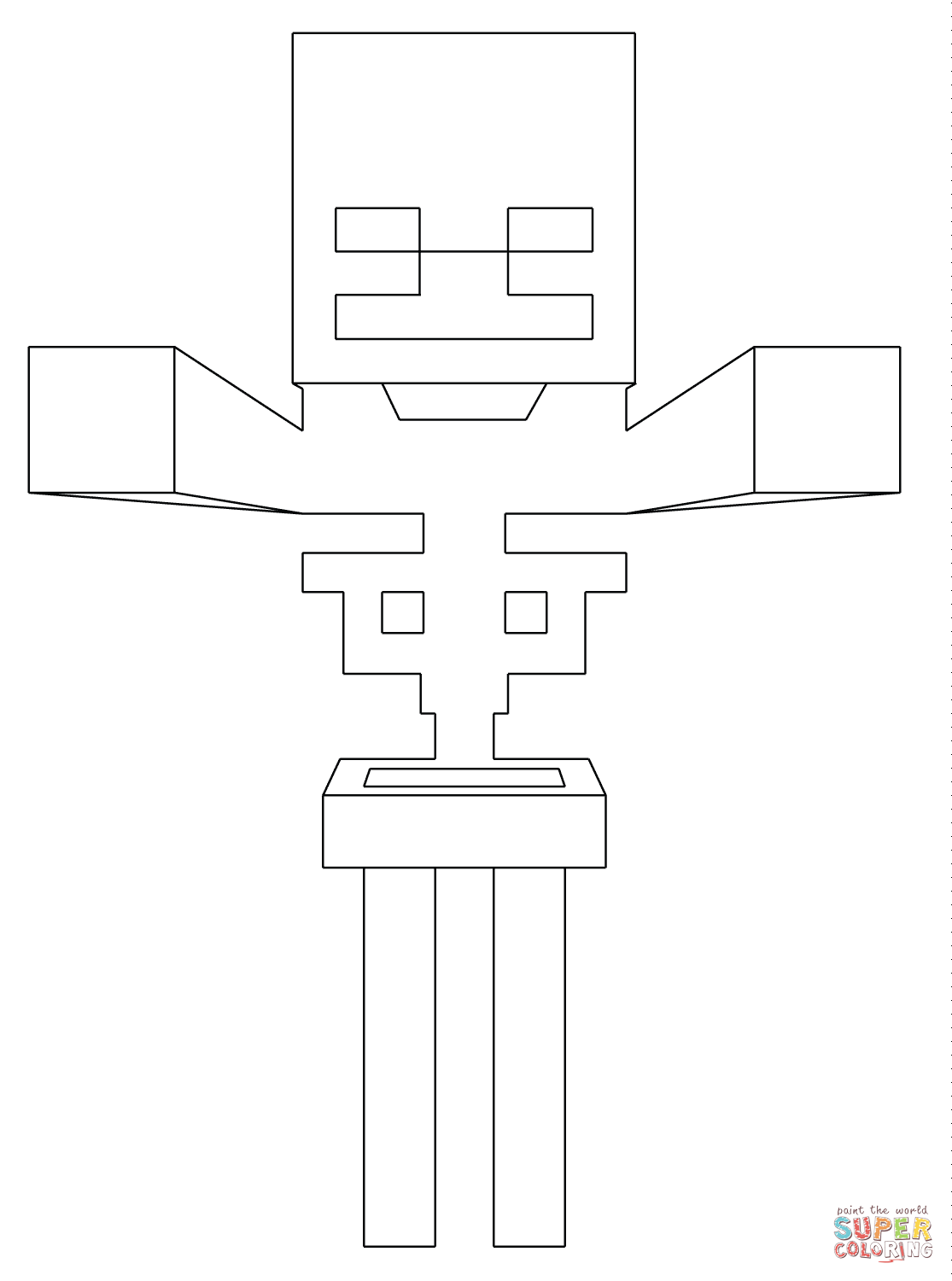 It's just an image of Versatile minecraft skeleton coloring pages