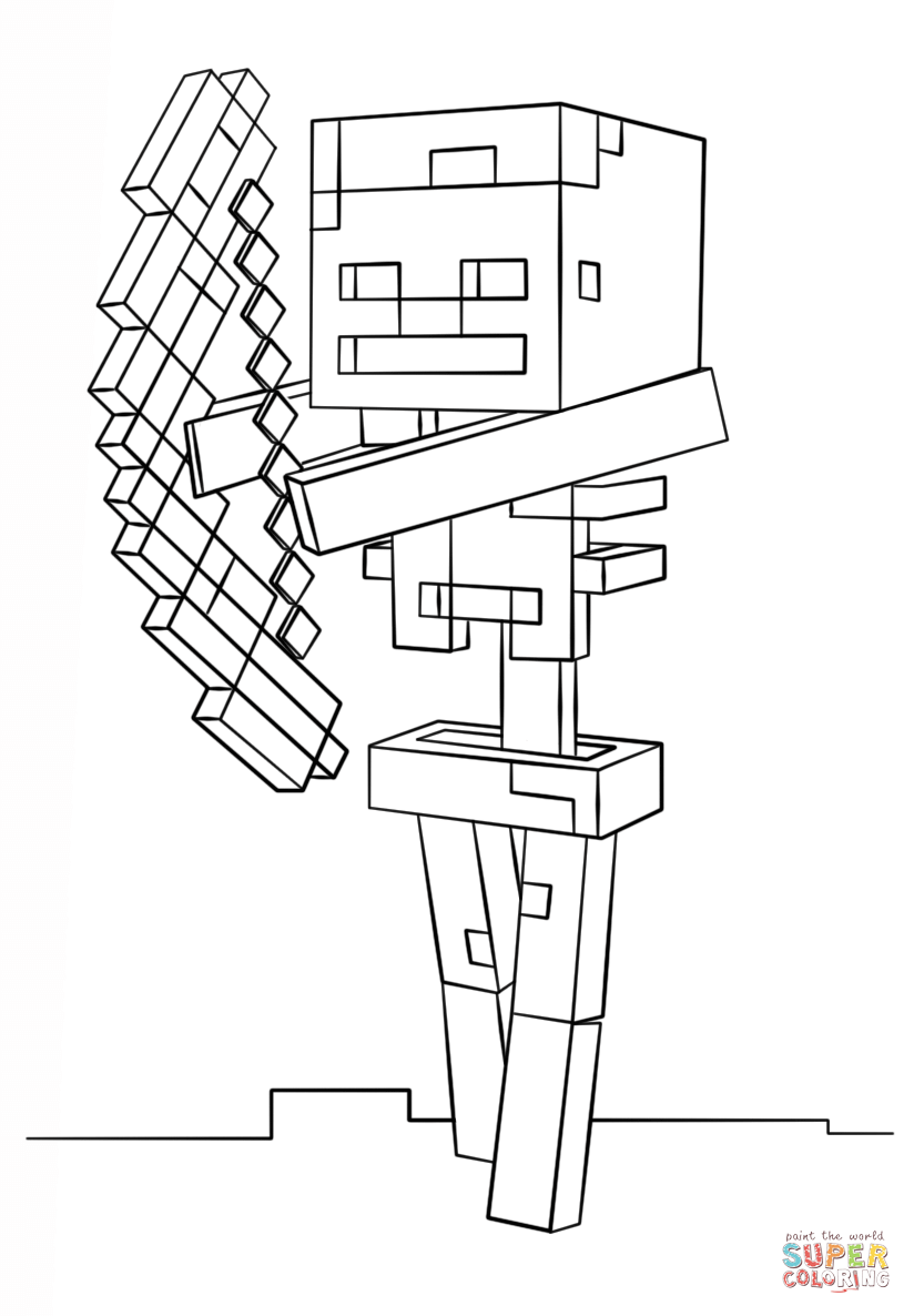 minecraft skeleton with bow from minecraft coloring page
