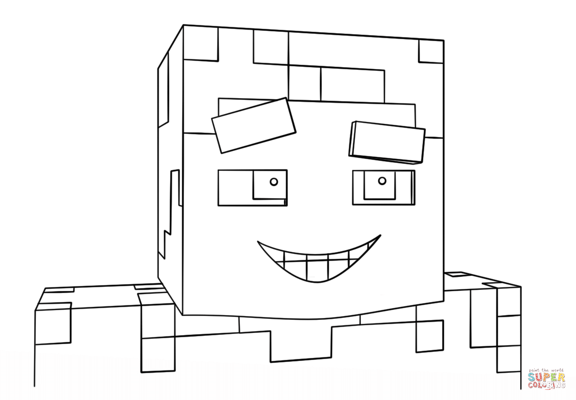 Minecraft Smiling Steve From Minecraft Coloring Page Free Coloring Pages Online