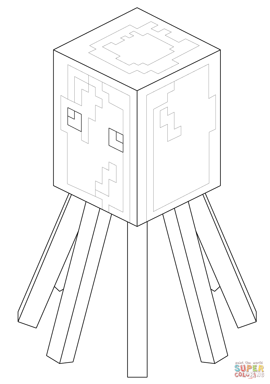 minecraft squid from minecraft coloring page free coloring pages