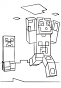 Minecraft Steve and Creeper from Minecraft Coloring Page