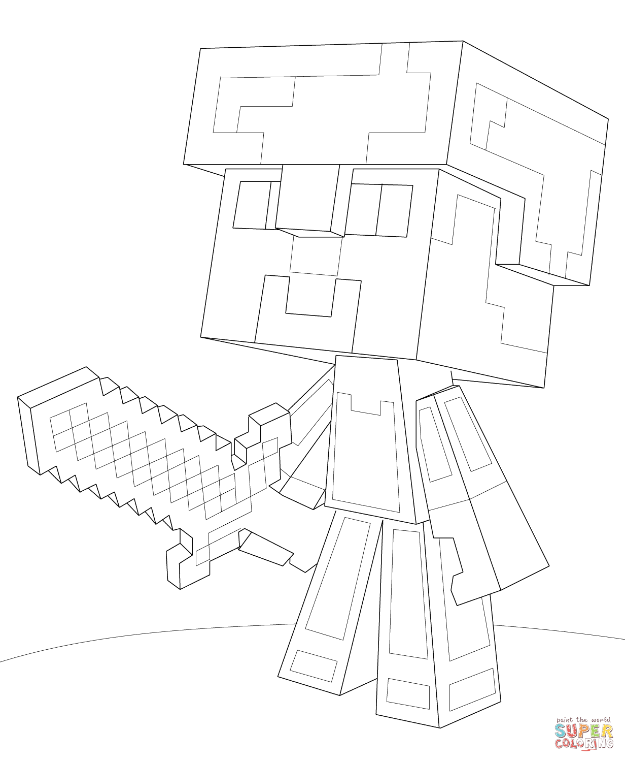 Minecraft Steve Diamond Armor From Minecraft Coloring Page Free Coloring Pages Online