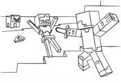 Minecraft Steve vs. Skeleton from Minecraft Coloring Page