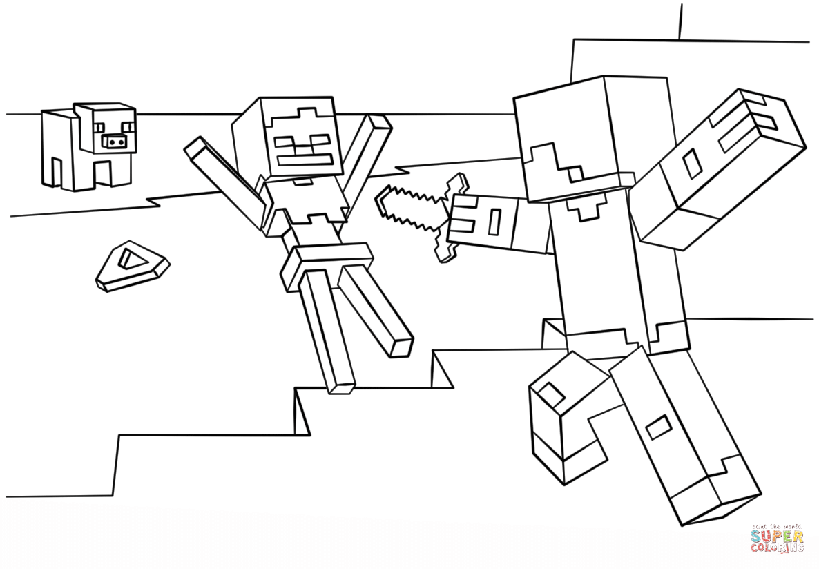 Minecraft Steve vs. Skeleton from Minecraft Coloring Pages