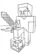 Minecraft Steve with Diamond Sword from Minecraft Coloring Page