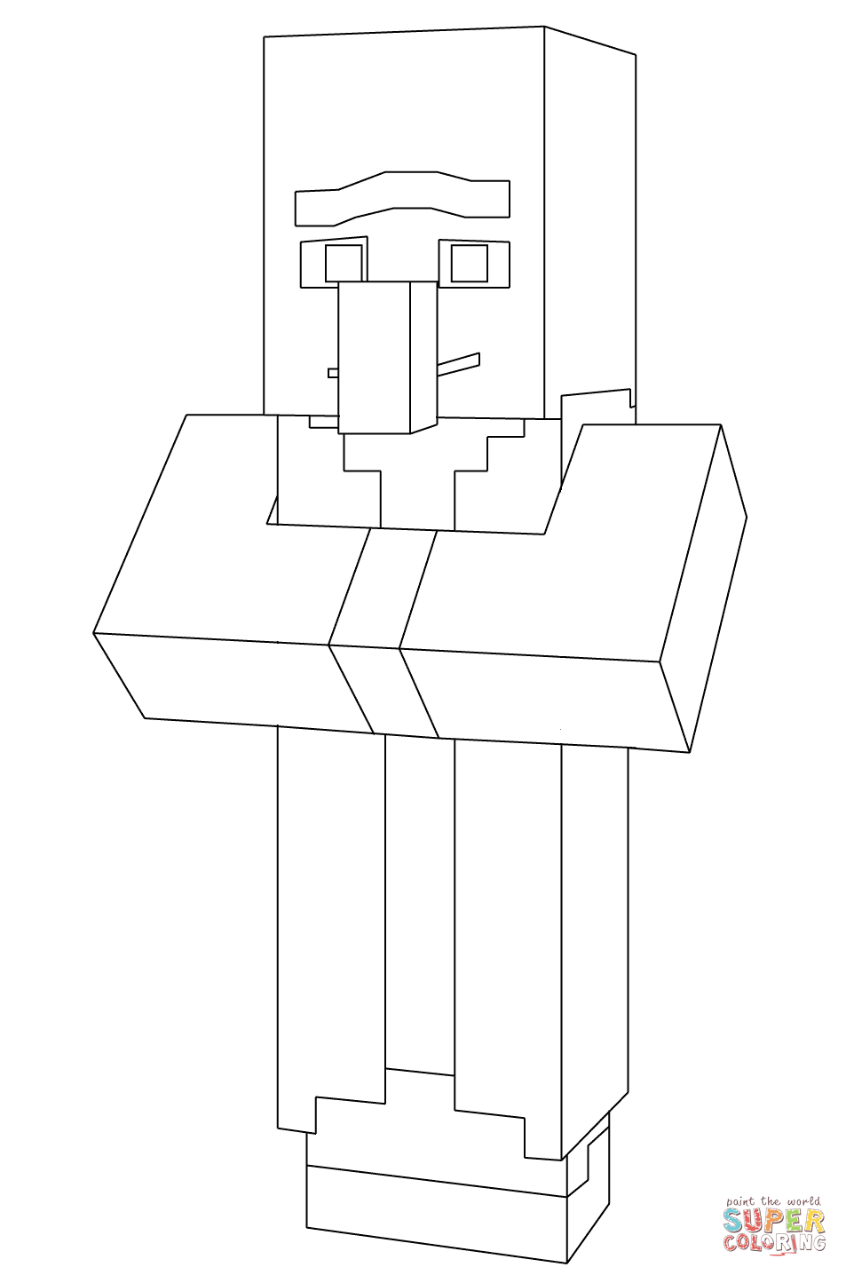 Chopkins Kleurplaat Minecraft Villager From Minecraft Coloring Page Free