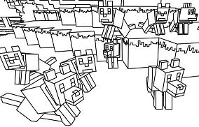 Minecraft Wolves Coloring Page