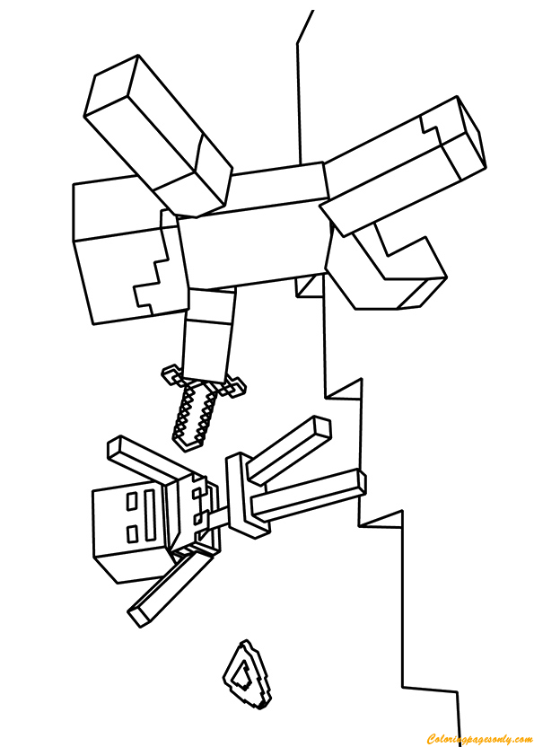 Minecraft Zombie Villager Coloring Page Free Coloring