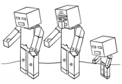 Minecraft Zombies from Minecraft Coloring Page
