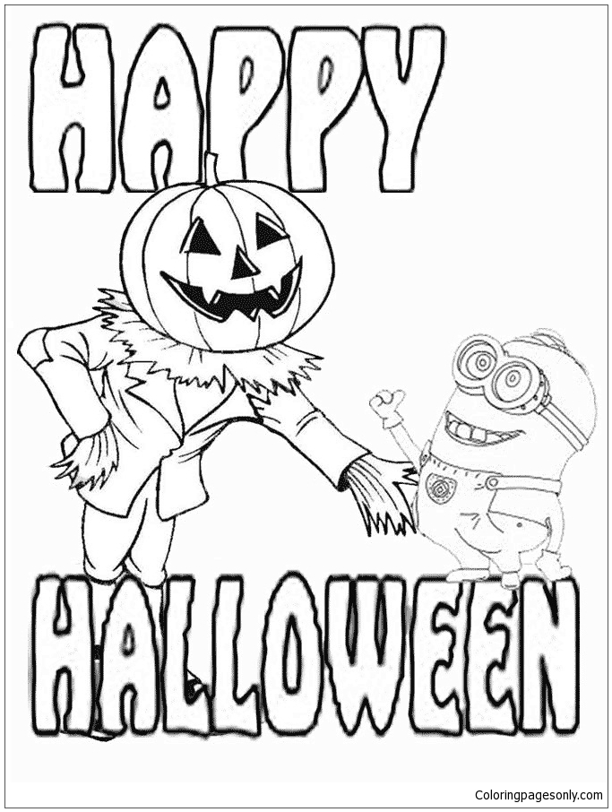Minion And Jack O Lantern Halloween Coloring Page