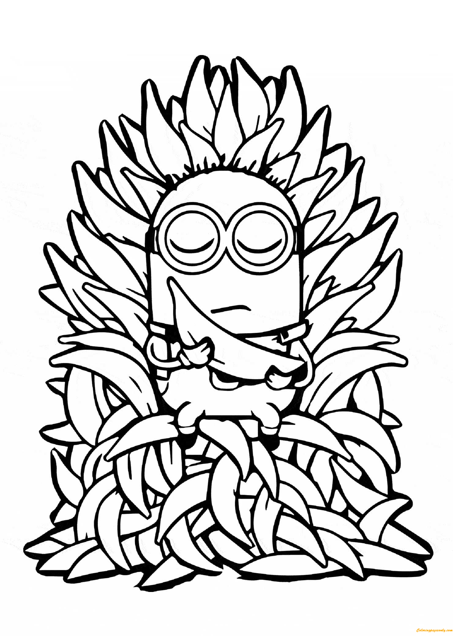 Minion and Many Bananas Coloring