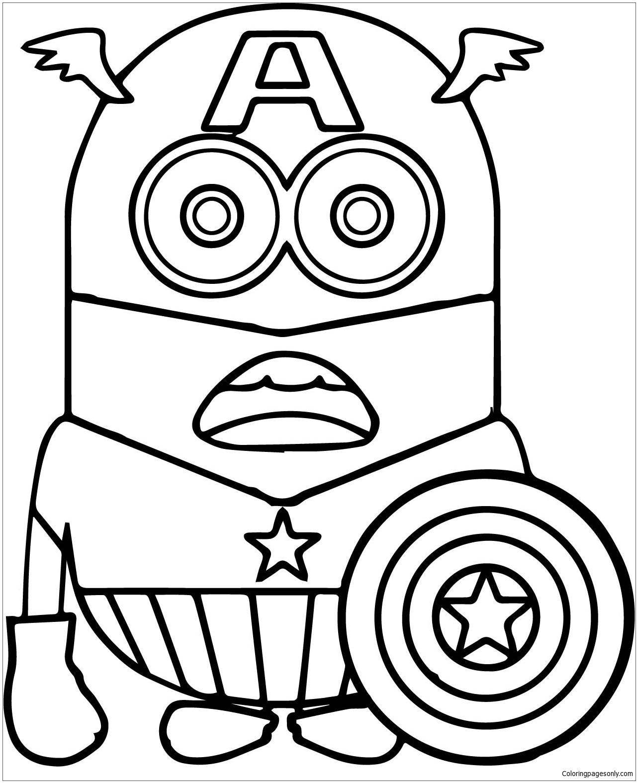 Minion Captain America 1 Coloring Page