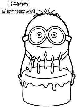 Happy Birthday Minion  Coloring Page