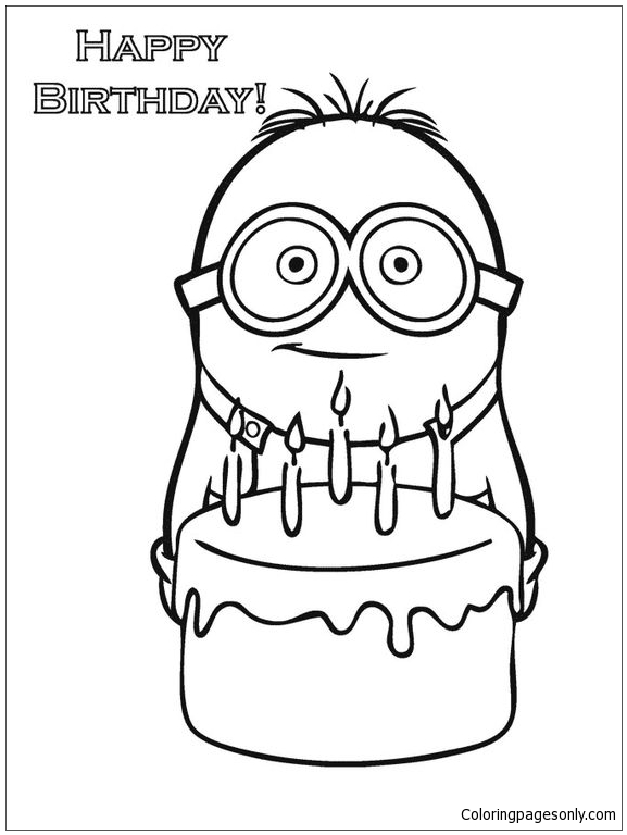 Happy Birthday Minion Coloring Page