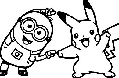 Minion Kevin Golf Dancing With Pikachu Coloring Page