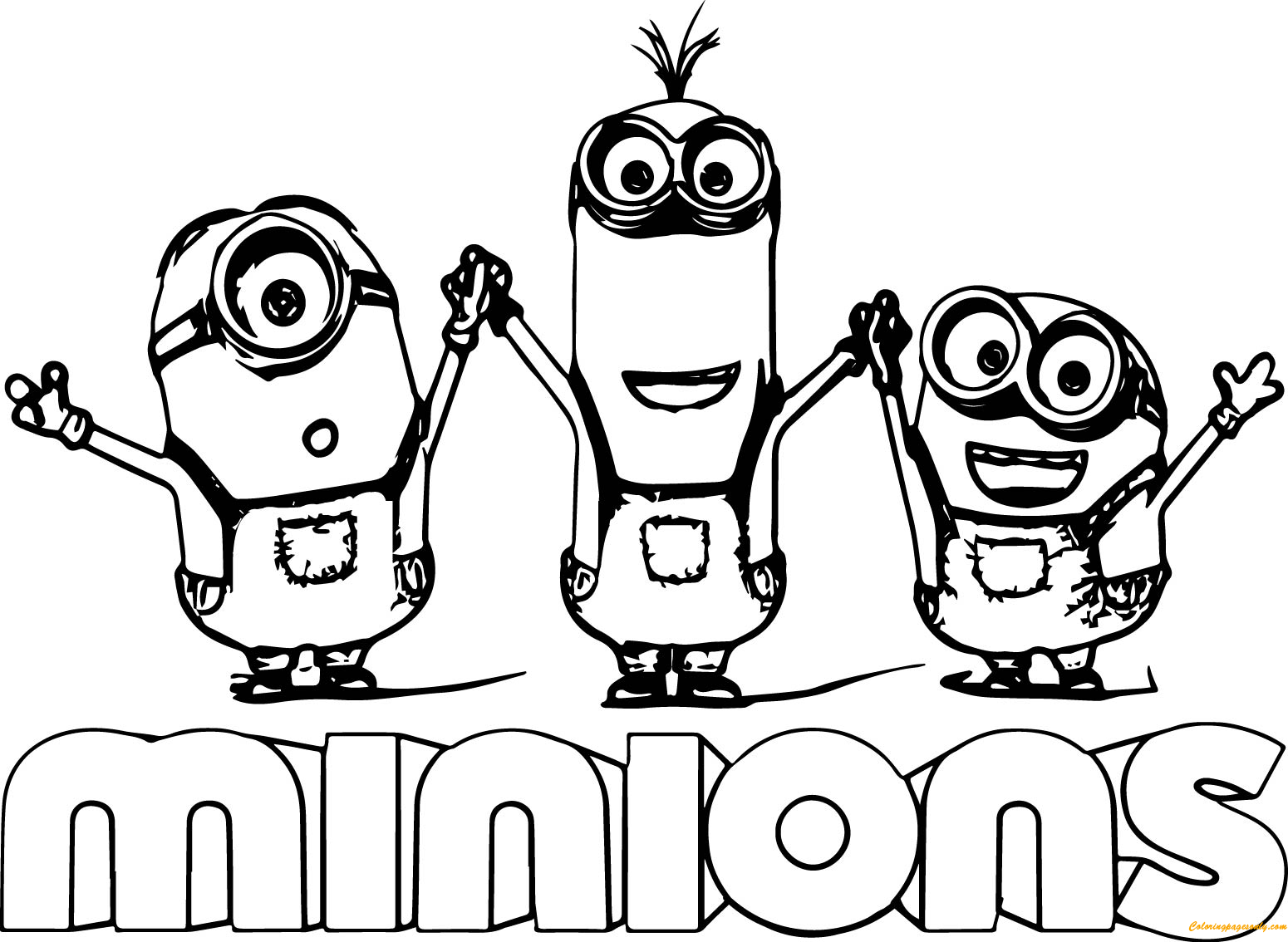 Minion Kevin With Two Minions Coloring Page Free