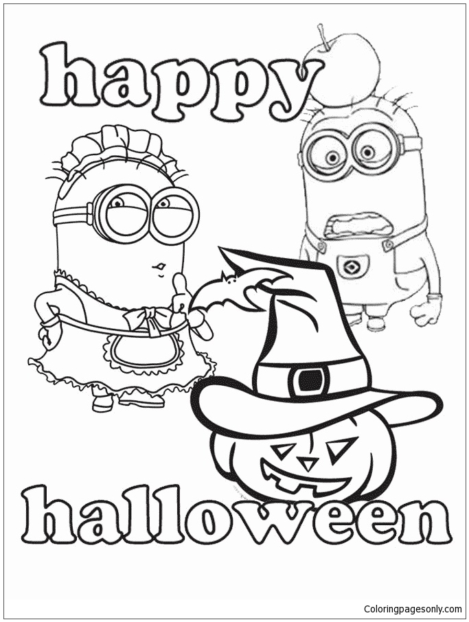 Minions And Halloween Coloring Page