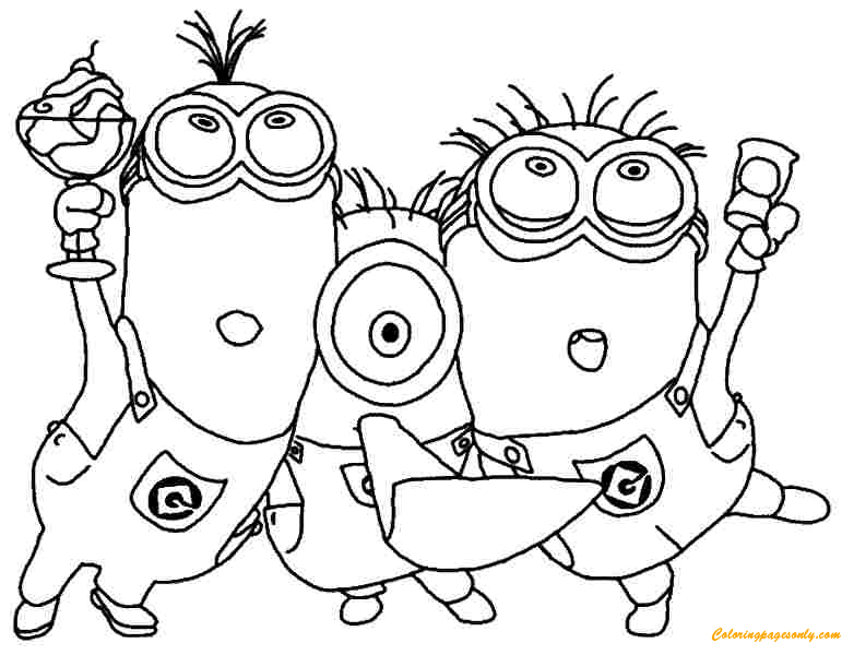 Minions Celebrate Free Coloring Page