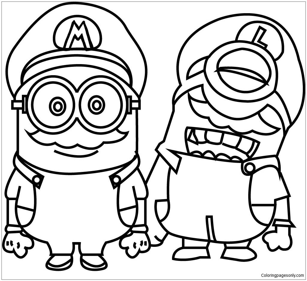 Minions Cosplay Mario World Capa Para Coloring Page