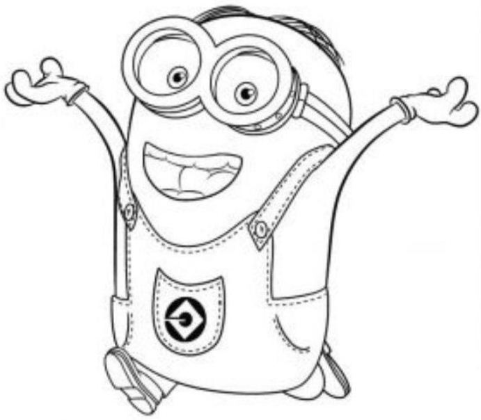 Minions Dave Free Coloring Page