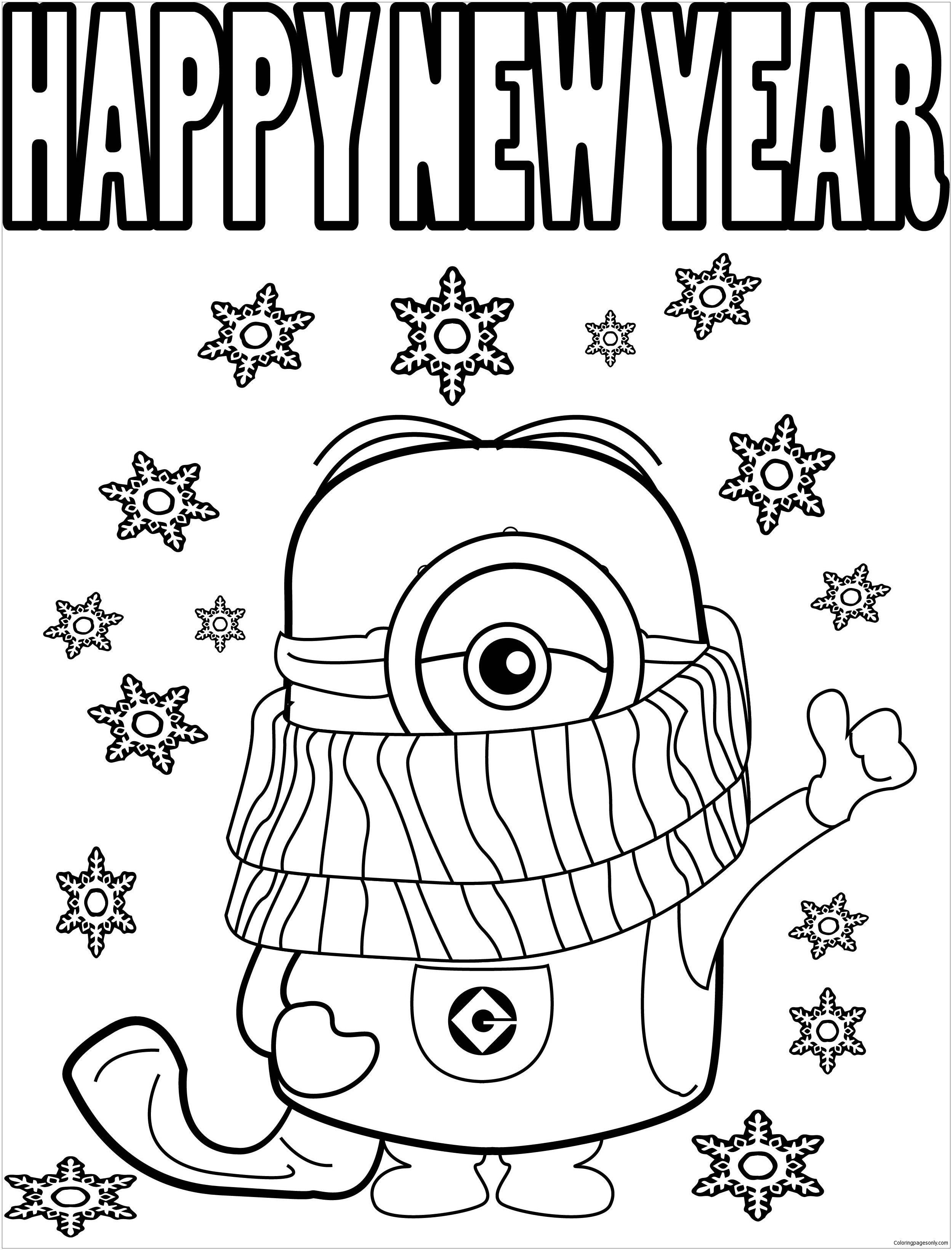 Minions With New Year Coloring Page