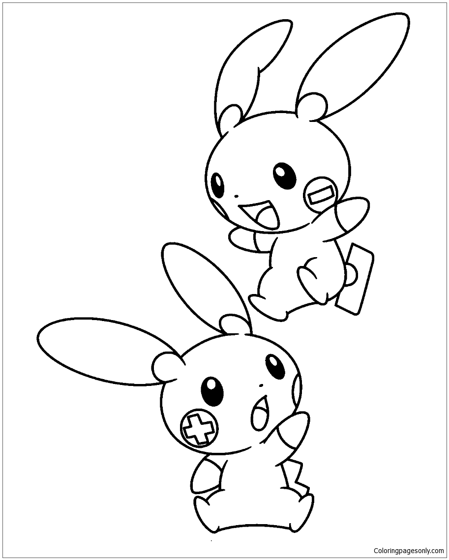 Minun And Plusle Pokemon Coloring
