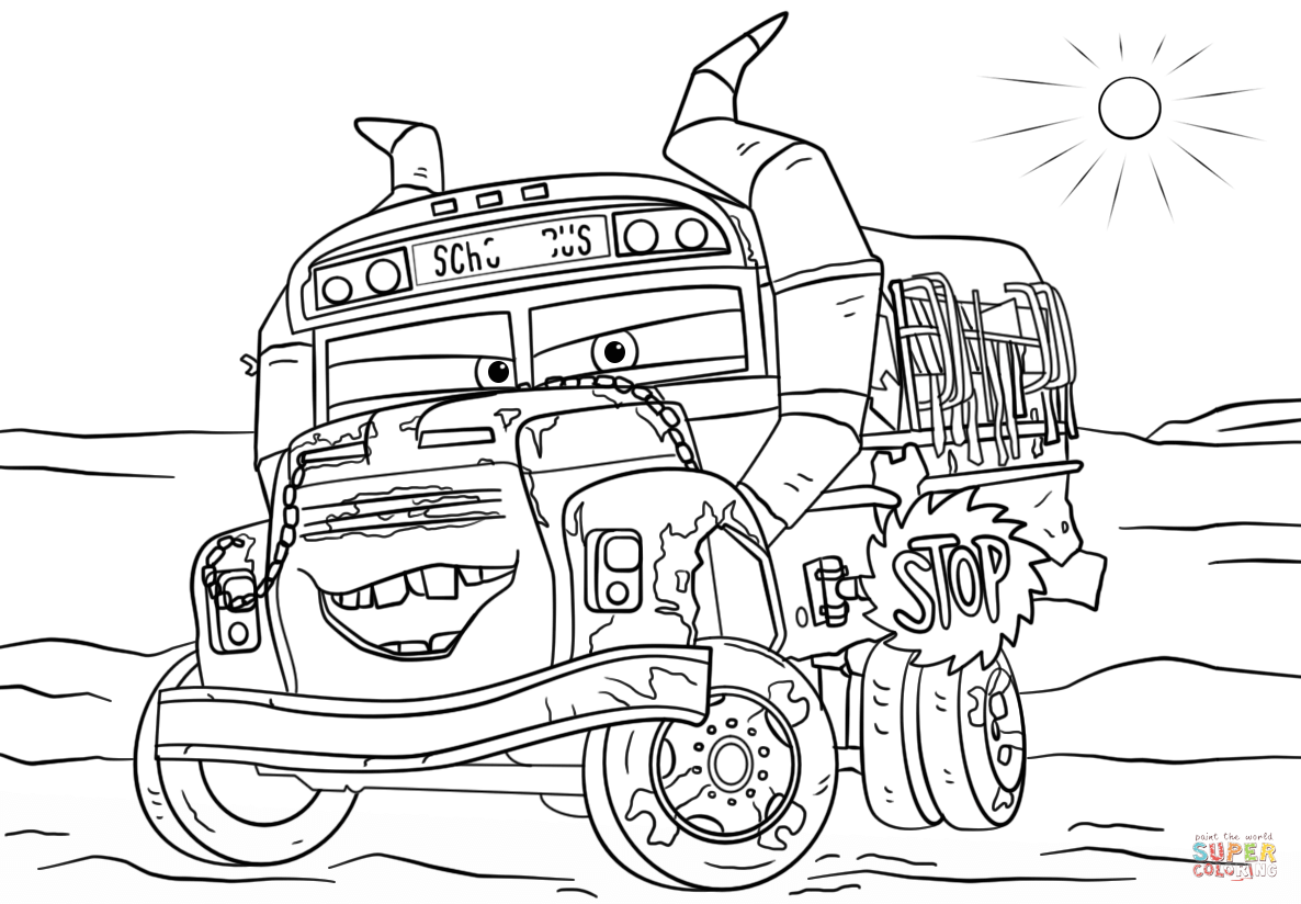Miss Fritter From Cars 3 Disney Coloring Page